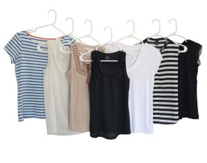 Here are the main tops I wore. I had 3 other striped shirts not pictured.