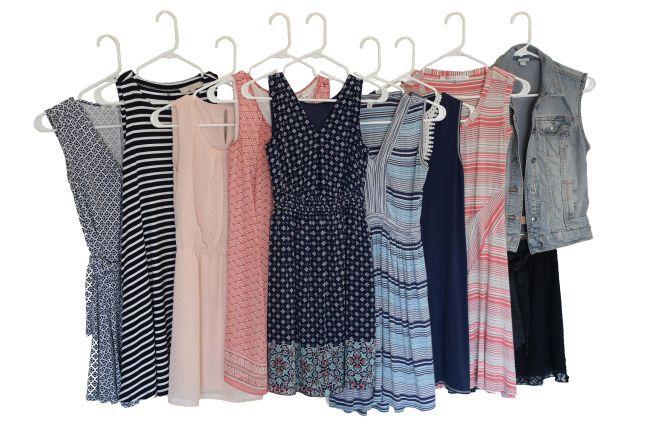7 Dresses + 1 Romper + 1 Skirt + 1 Vest = 10 Item Wardrobe